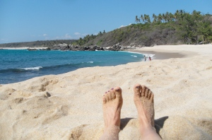 View from a sandy hollow on a Mexican beach