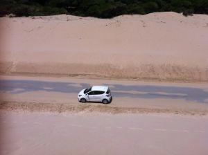 My hire car in between the sand dunes in Tarifa, Spain